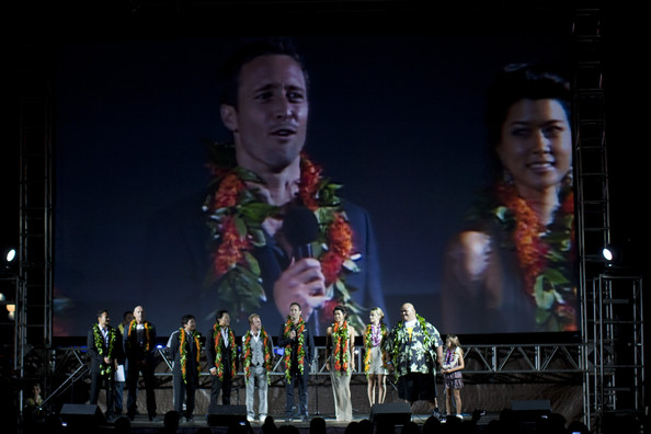 "Grace Park The cast of ""Hawaii 5-0"" on stage before the world premiere ..."