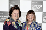 Suzy Menkes and Hillary Alexander attend the Graduate Fashion Week George Gold Award show at The Old Truman Brewery on June 2, 2015 in London, England.
