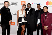 (L-R) Recording artist French Montana, actor Cassie Ventura, recording artist-producer Sean Combs, Christian Combs, and Justin Dior Combs attend the Clive Davis and Recording Academy Pre-GRAMMY Gala and GRAMMY Salute to Industry Icons Honoring Jay-Z on January 27, 2018 in New York City.
