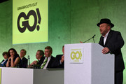 George Galloway speaks during the Grassroots Out rally at the Queen Elizabeth II Conference Centre on February 19, 2016 in London, England. Grassroots Out (also known as GO) is a cross party union made of politicians and political supporters from across the political spectrum campaigning for the United Kingdom to leave the European Union.
