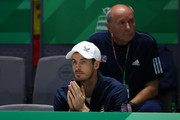 Andy Murray of Great Britain watches Kyle Edmund of Great Britain play in his semi final singles match against Feliciano Lopez of Spain during Day 6 of the 2019 Davis Cup at La Caja Magica on November 23, 2019 in Madrid, Spain.