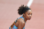 Allyson Felix of United States looks on after the Women's 150 Metres race during the Great City Games on May 18, 2018 in Manchester, England.