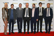 """Pixie Lott, James Blunt, Steve Coogan, Director Michael Winterbottom, David Mitchell, Asa Butterfield and Tim Key attends the """"Greed"""" European Premiere during the 63rd BFI London Film Festival at the Odeon Luxe Leicester Square on October 09, 2019 in London, England."""