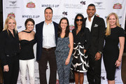 (L-R) Ginger Stickel,  Wendy Stapleton Reyes, Mark Teixeira, Leigh Teixeira, Tamara Houston, Allan Houston  and Colleen deVeer attend Greenwich Film Festival 2015 - Sports Guys On Sports Movies Premiere & After Party at Cole Auditorium at Greenwich Library on June 4, 2015 in Greenwich, Connecticut.