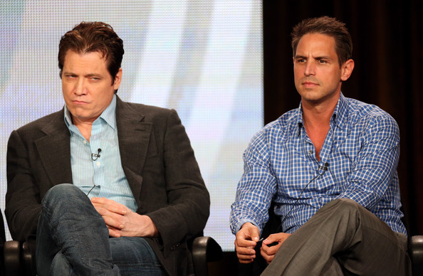 2013 Winter TCA Tour - Day 9 [golden boy,white-collar worker,suit,event,conversation,human,interaction,sitting,businessperson,business,holt mccallany,greg berlanti,audience,questions,l-r,langham hotel,winter tca,cbs,portion]