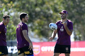 Greg Inglis Billy Slater Queensland Maroons Media Opportunity & Training Session