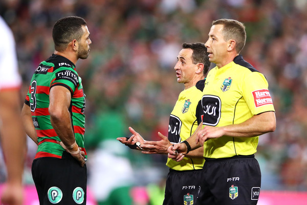 NRL Semi Final - Rabbitohs vs. Dragons [player,referee,sports,team sport,football player,sports equipment,ball game,international rules football,soccer player,referees,greg inglis,ben cummins,gerard sutton,nrl semi final - rabbitohs,anz stadium,dragons,south sydney rabbitohs,match,nrl semi final]