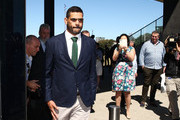 South Sydney Rabbitohs captain Greg Inglis departs after speaking to the media during a press conference at Redfern Oval on October 2, 2018 in Sydney, Australia. Inglis was yesterday charged with a drink driving offence.
