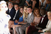 Klaus Wowereit (L-R), Frank Mutters, Vicky Leandros, Tanja Buelter, Paul Henry Duval, Valerie Campbell, Papis Loveday and Ute Ohoven attend the Guido Maria Kretschmar show during Mercedes-Benz Fashion Week Spring/Summer 2014 at Brandenburg Gate on July 3, 2013 in Berlin, Germany.