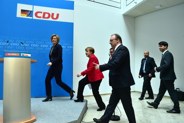 Chancellor Angela Merkel Speaks at CDU Party Headquarters As Political Opponents Gain Ground In Regional Elections