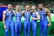 Team Great Britain (L-R) Kristian Thomas, Max Whitlock, Brinn Bevan, Nile Wilson and Louis Smith pose for a photo after Artistic Gymnastics Men's Team qualification on Day 1 of the Rio 2016 Olympic Games at Rio Olympic Arena on August 6, 2016 in Rio de Janeiro, Brazil.