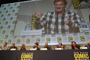 (L-R) Director Quentin Tarantino and actors Kurt Russell, Jennifer Jason Leigh, Walton Goggins,  Demian Bichir, Tim Roth, Michael Madsen and Bruce Dern attend 'THE HATEFUL EIGHT' press line and panel during Comic-Con International 2015 on July 11, 2015 in San Diego, California.