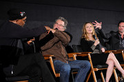 """(L-R) Cast members Samuel L. Jackson, Kurt Russell, Jennifer Jason Leigh and Walton Goggins attend the """"""""The Hateful Eight"""""""" special cast Q&A screening at the Egyptian Theatre on December 4, 2015 in Hollywood, California."""