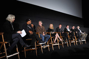 """(L-R) Cast members Samuel L. Jackson, Kurt Russell, Jennifer Jason Leigh, Walton Goggins, Tim Roth, Michael Madsen and Bruce Dern attend the """"""""The Hateful Eight"""""""" special cast Q&A screening at the Egyptian Theatre on December 4, 2015 in Hollywood, California."""