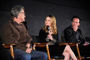 """(L-R) Cast members Kurt Russell, Jennifer Jason Leigh and Walton Goggins attend the """"""""The Hateful Eight"""""""" special cast Q&A screening at the Egyptian Theatre on December 4, 2015 in Hollywood, California."""