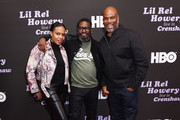 (L-R) Guest, Lil Rel Howery and Chris Spencer attend HBO's Lil Rel Comedy Special Screening, Panel and Reception at NeueHouse Hollywood on November 21, 2019 in Los Angeles, California.