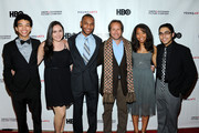 (L-R)  Justice Smith, Analisa Gutierrez, Joseph Wood, Paul T. Lehr, Jaz Sinclair and Julian Aldana-Tejada attend HBO's YoungArts MasterClass: Anna Deavere Smith Screening At The Metropolitan Museum Of Art on April 7, 2014 in New York City.