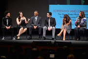 YoungArts alumni Justice Smith, Analisa Gutierrez, Joseph Wood, Julian Aldana-Tejada, Jaz Sinclair and actress Anna Deavere Smith attend HBO's YoungArts MasterClass: Anna Deavere Smith Screening At The Metropolitan Museum Of Art on April 7, 2014 in New York City.