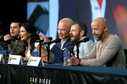(L-R) Michael Malarkey, Laura Mennell, Neal McDonough, David O'Leary and Sean Jablonski attend HISTORY's Project Blue Book SDCC Panel 2019 at Hilton San Diego Bayfront Hotel on July 20, 2019 in San Diego, California.
