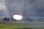 Members of the King's Troop Royal Horse Artillery perform a 41 gun salute honouring the 67th anniversary of Queen Elizabeth II's  accession to the throne at Green Park on February 6, 2020 in London, England.