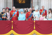 Princess Anne, Princess Royal, Princess Beatrice, Lady Louise Windsor,  Prince Andrew, Duke of York, Queen Elizabeth II, Meghan, Duchess of Sussex, Prince Charles, Prince of Wales, Prince Harry, Duke of Sussex, Catherine, Duchess of Cambridge, Prince William, Duke of Cambridge, Princess Charlotte of Cambridge, Savannah Phillips, Prince George of Cambridge and Isla Phillips on the balcony of Buckingham Palace during Trooping The Colour on June 9, 2018 in London, England. The annual ceremony involving over 1400 guardsmen and cavalry, is believed to have first been performed during the reign of King Charles II. The parade marks the official birthday of the Sovereign, even though the Queen's actual birthday is on April 21st.