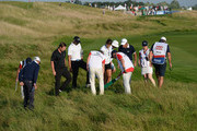 Callum Shinkwin of England, Alvaro Quiros of Spain and Edoardo Molinari of Italy look for the balls in the rough on the 10th fairway during Day One of the HNA Open de France at Le Golf National on June 28, 2018 in Paris, France.