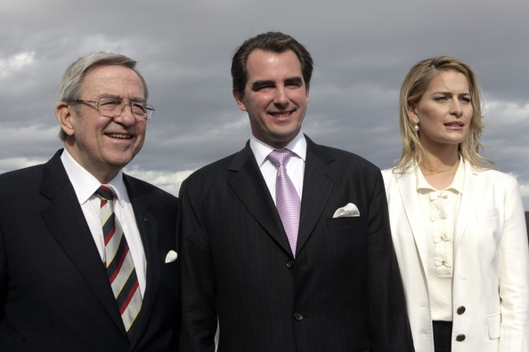 ATHENS, GREECE -FEBRUARY   1: (L-R) Exiled King  Constantine of Greece, Prince Nikolaos of Greece   and Ms Tatiana Blatnik  during a photo call with the press following   their engagement at The  Yacht Club of Greece on February 1, 2010 in   Greece, Athens.