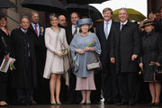 Princess Maxima, Queen Beatrix and Prince Willem-Alexander of the Netherlands pose with Saxony Governor Stanislaw Tillich (R) and Tillich's wife Veronika while on a walking tour of the historic city center on April 14, 2011 in Dresden, Germany. The Dutch royals are on a four-day visit to Germany that includes stops in Berlin, Dresden and Duesseldorf.