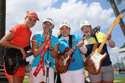 (L-R) Lexi Thompson of the USA, Lydia Ko of New Zealand, Inbee Park of South Korea and ShanShan Feng of China are pictured during a photocall  for the HSBC Women's Champions at Sentosa Golf Club on March 1, 2016 in Singapore, Singapore.