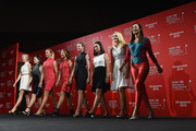 (L-R) Jessica Korda, Inbee Park, Suzann Pettersen, Lydia Ko, Paula Creamer, Chella Choi, Anna Nordqvist and Michelle Wie walk on the catwalk at the launch event for the HSBC Women's Champions at the Fairmont Hotel on March 3, 2015 in Singapore, Singapore.