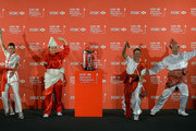 Paula Creamer of the USA, Inbee Park of South Korea, Suzann Pettersen of Norway and Shanshan Feng of China strike a pose during a photocall at the Fairmont Hotel prior to the start of the 2014 HSBC Women's Champions on February 25, 2014 in Singapore, Singapore.