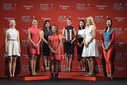 (L to R) Jessica Korda, Suzann Pettersen, Inbee Park, Lydia Ko, Paula Creamer, Chella Choi, Anna Nordqvist and Michelle Wie pose on the catwalk at the launch event for the HSBC Women's Champions at the Fairmont Hotel on March 3, 2015 in Singapore, Singapore.