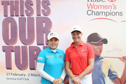 Suzann Pettersen of Norway and Inbee Park of South Korea pose during a promotional event prior to the start of the 2014 HSBC Women's Champions on February 25, 2014 in Singapore, Singapore.