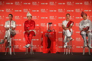 (L-R) Paula Creamer of the USA, Inbee Park of South Korea, Suzann Pettersen of Norway and Shanshan Feng of China talk to the media following a photocall at the Fairmont Hotel prior to the start of the 2014 HSBC Women's Champions on February 25, 2014 in Singapore, Singapore.