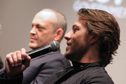 "Actor Luke Bracey (R) and Actor Vince Vaughn participate in a Q&A panel discussion at the ""Hacksaw Ridge"" DC Screening at the Navy Memorial and Naval Heritage Center on October 28, 2016 in Washington, DC."