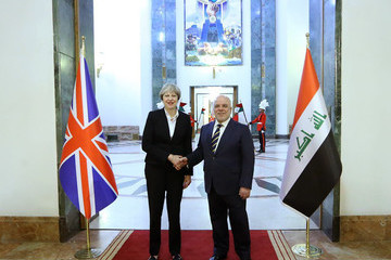 Haider al-Abadi British Prime Minister Theresa May on a Surprise Visit to Baghdad