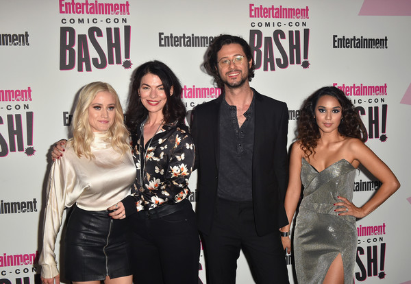 Entertainment Weekly Comic-Con Celebration - Arrivals [event,fashion,premiere,carpet,dress,red carpet,little black dress,flooring,fashion design,entertainment weekly comic-con celebration - arrivals,olivia taylor dudley,summer bishil,hale appleman,sera gamble,l-r,san diego,entertainment weekly,hbo,comic-con bash]