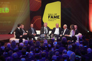 Guenter Netzer, Lothar Matthaeus, Sepp Maier, Andreas Brehme and Franz Beckenbauer are seen on stage the Hall Of Fame gala at Deutsches Fussballmuseum on April 01, 2019 in Dortmund, Germany.