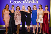 (L-R) Actresses Holly Robinson Peete, Jodie Sweetin, Candace Cameron Bure, Michelle Vicary, VP, Programming and Network Publicity, Crown Media Family Networks, actresses Lacey Chabert, Alison Sweeney, Bailee Madison, and Alexa PenaVega attend Hallmark Channel and Hallmark Movies and Mysteries Winter 2018 TCA Press Tour at Tournament House on January 13, 2018 in Pasadena, California.