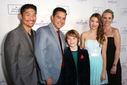 "(L-R) Actor Brian Tee, Actor Carlos Gomez, Actor Griffin Kane, Actress Ali Skovbye, and Actress Anne Heche arrive at Hallmark Hall of Fame's ""One Christmas Eve"" Premiere Event at Fig & Olive Melrose Place on November 18, 2014 in West Hollywood, California."