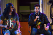 (L-R) Slash and Eli Roth speak during Halloween Horror Nights at Universal Studios Hollywood on September 12, 2019 in Universal City, California.