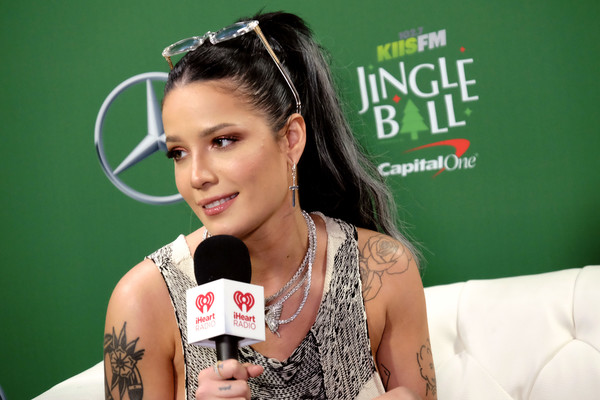 102.7 KIIS FM Jingle Ball – PRESS ROOM [arm,forehead,games,black hair,singer,tattoo,recreation,ear,halsey,commercial use,press room,california,los angeles,forum,kiis fm,capital one,jingle ball]