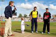 Dominic Cork of Hampshire(C) and Dale Benkenstein of Durham  toss the coin during the Friends Life T20 Quarter Final match between Hampshire and Durham at The Rose Bowl on August 7, 2011 in Southampton, England.