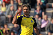 Imran Tahir of Hampshire celebrates a wicket during the Friends Life T20 Quarter Final match between Hampshire and Durham at The Rose Bowl on August 7, 2011 in Southampton, England.