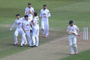 James Tomlinson of Hampshire celebrates taking the wicket of Paul Collingwood of Durham with his team mates during the LV County Championship match between Hampshire and Durham at Ageas Bowl on July 19, 2015 in Southampton, England.