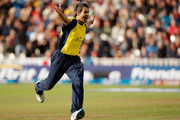 Imran Tahir of Hampshire celebrates taking a wicket during the Friends Life T20 semi final match between Hampshire and Somerset at Edgbaston on August 27, 2011 in Birmingham, England.