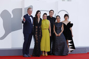 """(L-R) Christopher McDonald, Rebecca Comerford, Nicole Ansari-Cox, Matt Dillon, Shirin Neshat and Sheila Vand attend the red carpet of the movie """"The Hand Of God"""" during the 78th Venice International Film Festival on September 02, 2021 in Venice, Italy."""