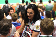 Yelena Isinbayeva of Russia attends the women's Gold Medal handball match France vs Russia for the Rio 2016 Olympics Games at the Future Arena in Rio at Future Arena on August 20, 2016 in Rio de Janeiro, Brazil.