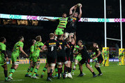 George Merrick of Harlequins wins lineout ball under pressure from Courtney Lawes of Northampton Saints during the Aviva Premiership Big Game 10 match between Harlequins and Northampton Saints at Twickenham Stadium on December 30, 2017 in London, England.