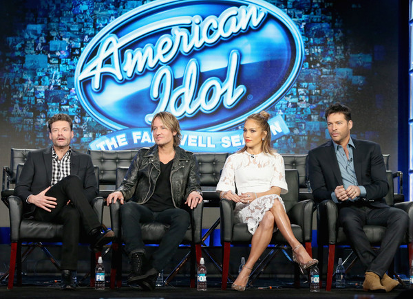2016 Winter TCA Tour - Day 11 [american idol,event,performance,talent show,company,stage,advertising,television program,convention,performing arts,stage equipment,winter tca,keith urban,ryan seacrest,harry connick jr.,jennifer lopez,l-r,langham huntington hotel,panel discussion,winter tca tour]